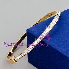 9K 9ct Rose GOLD GF Ladies Oval BANGLE with SWAROVSKI Lab DIAMOND BRACELET S621