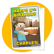 Steve & Cake - PERSONALISED BIRTHDAY CARD - Minecraft themed gamer personalized