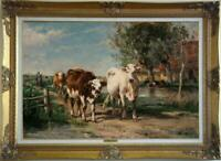 "Hand painted Old Master-Art Antique Oil Painting animal cow on canvas 24""x36"""