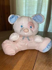 VTG 1988 Fisher Puffalump Puppy Dog Rattle Plush Spot Eye White Blue Pink CLEAN