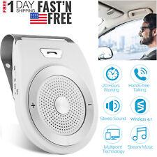 Car Wireless Speaker v4.1 Charger Kit Handsfree Music Player Sun Visor Clip USA