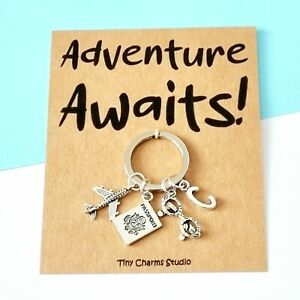 Personalised Travel keychain Adventure Awaits For Traveller Moving Away Gift