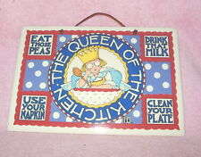 "Mary Engelbreit 'Queen Of The Kitchen' Ceramic Wall Plaque 12"" X 8"" Excellent"