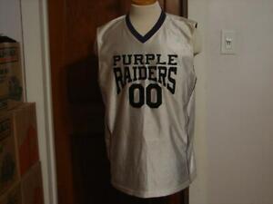 Men's Purple Raiders 00 White Purple Basketball Jersey Size L