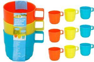 Set of 12 Plastic Mugs 3 Colours Nursery School Children's Mugs Camping Mugs