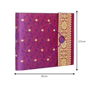 Purple Sari Fabric Cover Photo Album with Closure, Fits 120 6x4 or 60 7x5 Photos