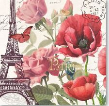 MDW-TWO (2) Paper Luncheon Napkins for Paper Crafts, Birds, Paris, Eiffel Tower