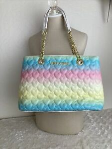 Betsey Johnson Rainbow Quilted Hearts Tote Shoulder Bag Chain Straps