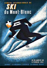 Art Ad  French Ski Mont Blanc  Skiing Travel  Poster Print