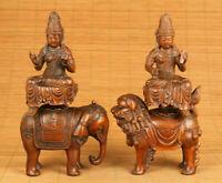 Rare old boxwood hand carved Kylin Elephant Guanyin statue netsuke decoration