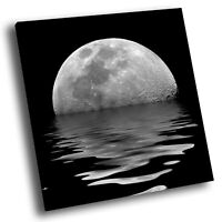 Square Scenic Canvas Wall Art Photo Picture Print Black White Ocean Moon Cool