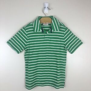 Hannah Andersson Boys Short Sleeved Pocket Polo Size 110 US 5 Green White Stripe