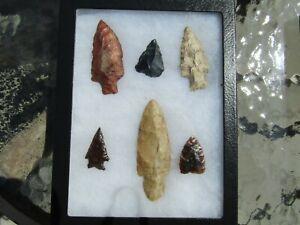 FANTASTIC Lot of (6) North America Arrow heads Flint/Jasper/Obsidian