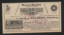 NÜRNBERG, Werbung 1912, H. J. Wenglein Norica-Werk Nadeln