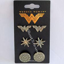 DC Comics WONDER WOMAN Costume Metal Stud Earrings Shield Star Logo 3 PACK NEW