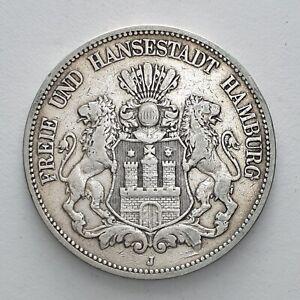 1875J Germany 5 Marks Hamburg German States Deutsches Reich Silver Coin