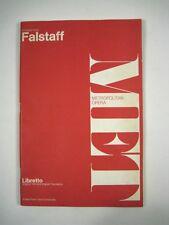 Metropolitan Opera Falstaff Libretto Verdi Giuseppe Published Schirmer PPB 1963
