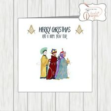 Masonic Christmas Card Masons Compass Symbol Three Wise Men Kings