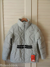 NORTH FACE METALLIC SILVER BELTED MERA PEAK 550 DOWN JACKET/ PARKA , M ~NWT