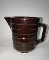 Vintage Brown glazed USA Crock stoneware pitcher pottery ribbed pattern