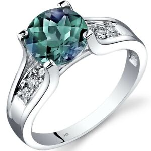 14K White Gold Created Alexandrite Diamond Cathedral Ring 2.25 Carat Size 7