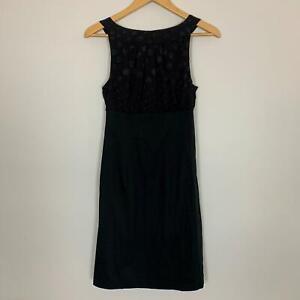 Trixxi Womens Black Cotton Spot Back Tie Neck Sheath Dress Size Small A5-15