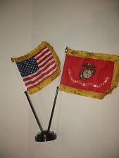 Miniature U.S. Marine Corps and American Flag Desk Set Table Stick (Gold Fringe)