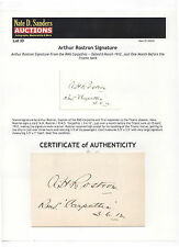 Captain Arthur Rostron Autographed Card RMS Carpathia Titanic Interest