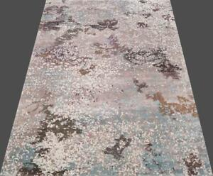 India 270x360 9x12Hand Knotted Contemporary Wool Bamboo Art Silk Carpet Rug