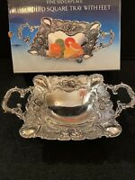 """Godinger Silverplate Handled Square Tray Footed Vintage 1999 8"""" Style 7510 SB"""