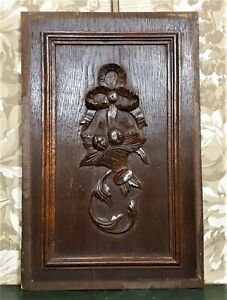 Bow ribbon basket scroll wood carving panel Antique french architectural salvage