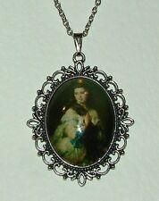 Lady camafeo De Vidrio Grandes Con Cabello Largo Estilo Victoriano Oscuro Plateado Plata Colgante