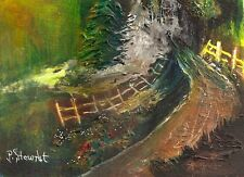 Path Dark Mysterious Mixed Media #painting 5x7 Original Landscape Penny StewArt