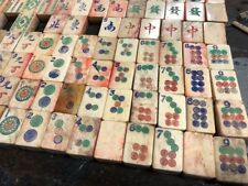 Antique Mah Jong Set Bone & Bamboo Tiles Chinese mahjong Game 1920s Vintage