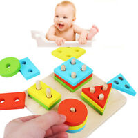Baby Puzzle Wooden Toy Geometric Sorting Board Building Blocks Educational Toy