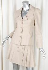 CHANEL 94P VINTAGE Beige Linen Blazer Jacket+Pleated Skirt Suit 34/36 US 2/4 S