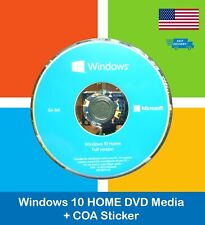 Microsoft Windows 10 Home 64bit DVD Kit or No DVD + Activation License Key COA