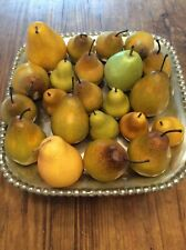"""FAUX BARTLETT PEARS, GREEN, YELLOW AND GOLDEN, SET OF 22: 3""""- 5"""" FRENCH COUNTRY"""