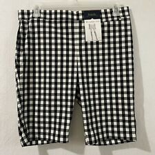 Rafaella womens shorts size 14 bermuda pull on black & white plaid comfort new