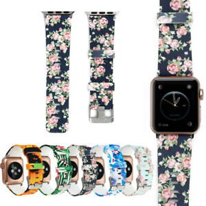 Floral Silicone Bracelet Sport Band For Apple Watch iWatch 40/44mm Series 5 4 3
