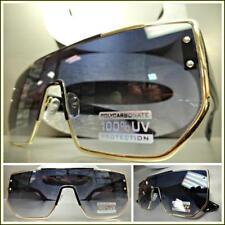 cdd908c8e5 Moderno Exclusivo Lujo Escudo Estilo Gafas de Sol Clásico Dorado y Negro  Marco