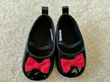Baby Girl Black Shoes Red Bow Holiday 6-12 Months EUC