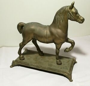 Antique/Vintage solid brass horse Statue on stand H24cm
