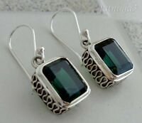 Green Quartz Solid Silver, 925 Balinese Traditional Design Earring 35242