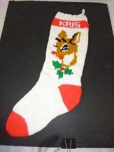 "Vtg Hand Knit Wool Stocking Rudolph 24"""