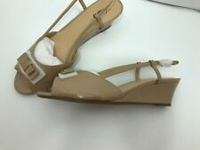 "Trotters "" Milly"" Wedge Slingback Sandal Double Decker Bow Nude Patent Size 12 W"