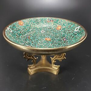 Brass Encased Green Enameled Bowl Unmarked with Ornate Brass Stand