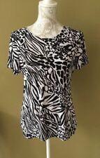Jm Collection Women's Top Black White Beige Size Small Excellent Condition