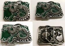 ✖Awesome DRAGON em green antique silver color Belt Buckle Full Metal US seller