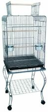 YML Open Top Silver Parrot Cage with Stand